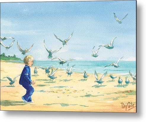 Boy On Beach Metal Print featuring the painting Feeding Joy by Ray Cole