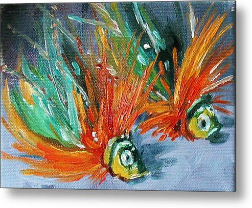 Fishing Lure Metal Print featuring the painting Fish Lures by Kathy Busillo