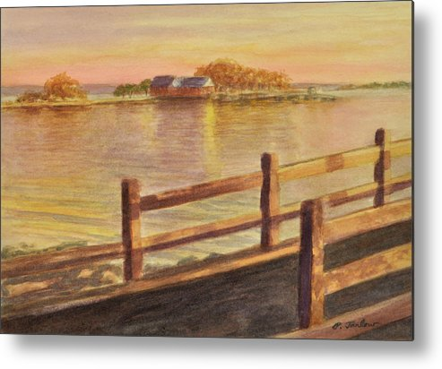 Landscape Metal Print featuring the painting Five Islands Sunset by Phyllis Tarlow
