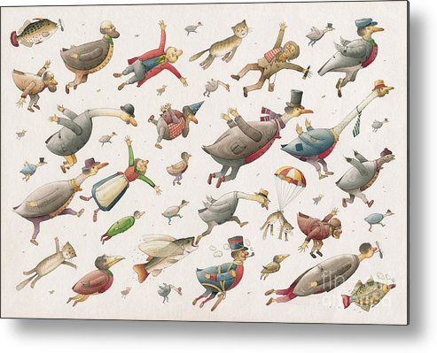 Sky Birds Flying Airplane Metal Print featuring the painting Flying by Kestutis Kasparavicius