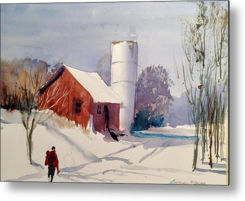 Rural Metal Print featuring the painting Fresh Snowfall by Charles Rowland