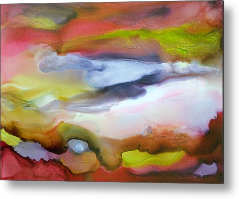 Abstract Metal Print featuring the painting Fully Alive - C by Sandy Sandy