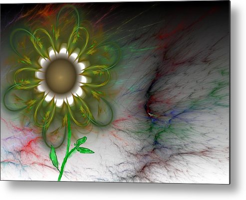Digital Photography Metal Print featuring the digital art Funky Floral by David Lane
