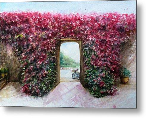 Roses Metal Print featuring the painting Garden Rose by Natalja Picugina