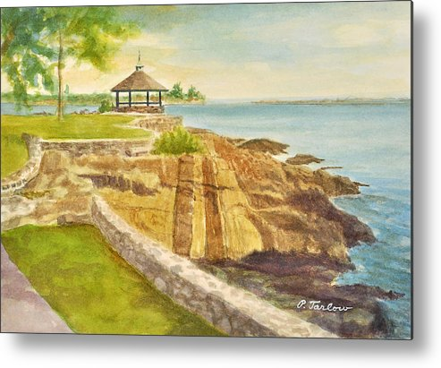 Landscape Metal Print featuring the painting Gazebo with Striated Rocks by Phyllis Tarlow