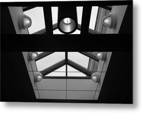 Black And White Metal Print featuring the photograph Glass Sky Lights by Rob Hans