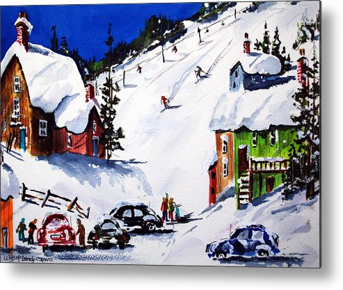 Skiing Winter Snow Sports Metal Print featuring the painting Going Downhill by Wilfred McOstrich