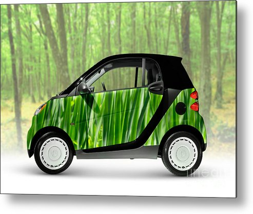 Smart Metal Print featuring the photograph Green Mini Car by Maxim Images Prints