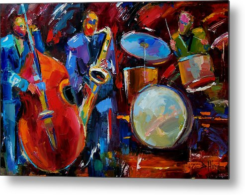 Music Metal Print featuring the painting Half the Band by Debra Hurd