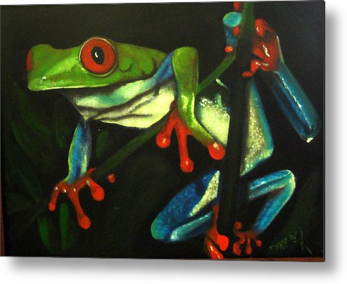 Red Eyed Tree Frog Metal Print featuring the painting Hangin Out by Darlene Green