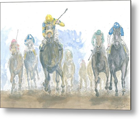 Horse Race Metal Print featuring the painting Homestretch by Dan Bozich
