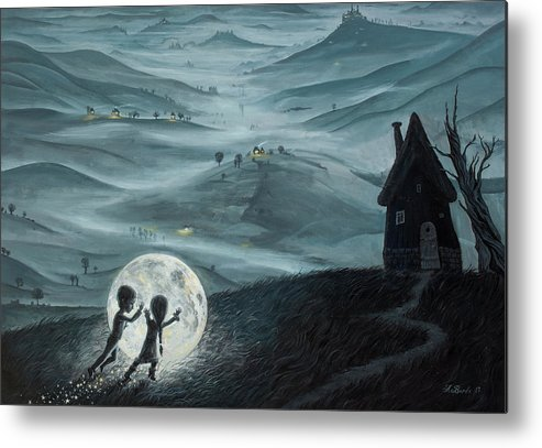 Kids Metal Print featuring the painting I Love Dreaming into That Dying Light by Adrian Borda