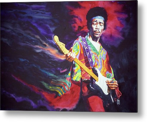Guitarists Metal Print featuring the painting Jimi Hendrix Dissolve by Ken Meyer jr