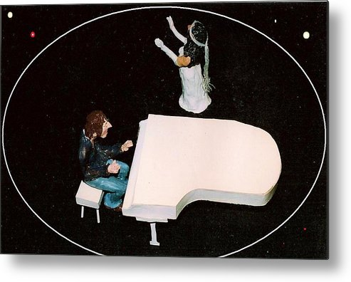 Beatles Metal Print featuring the mixed media John and Yoko soul searching by Richard Hubal
