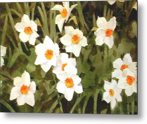 Spring Metal Print featuring the painting Jonquills by Faye Ziegler