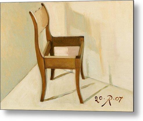 Still-life Chair Interior Light Brown Metal Print featuring the painting Late still-life by Raimonda Jatkeviciute-Kasparaviciene