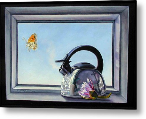 Steam Coming Out Of A Kettle Metal Print featuring the painting Life Is A Vapor by John Lautermilch