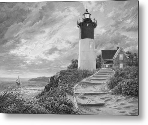 Beach Metal Print featuring the painting Lighthouse at Sunset - Black and White by Lucie Bilodeau