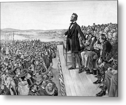 Gettysburg Address Metal Print featuring the drawing Lincoln Delivering The Gettysburg Address by War Is Hell Store
