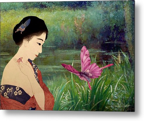 Japanese Metal Print featuring the digital art Loved By Butterflies by Laura Botsford