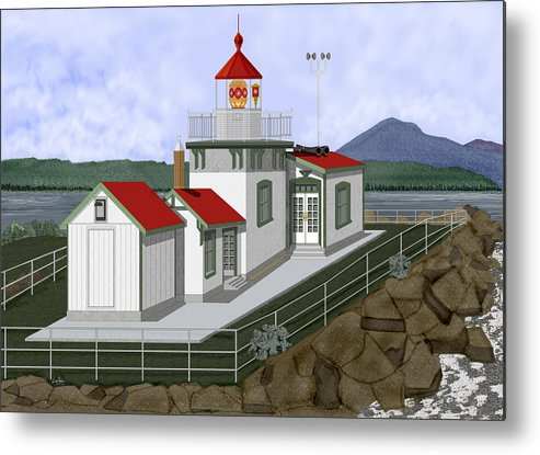 Lighthouse Metal Print featuring the painting Low Tide at West Point Lighthouse in Seattle by Anne Norskog
