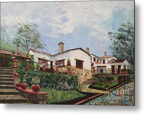 White Stucco Building Metal Print featuring the painting Mexican Hacienda After the Rain by Judith Espinoza