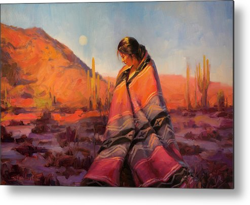 Southwest Metal Print featuring the painting Moon Rising by Steve Henderson
