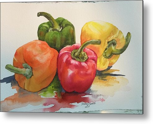 Watercolor Metal Print featuring the painting More peppers by Diane Ziemski
