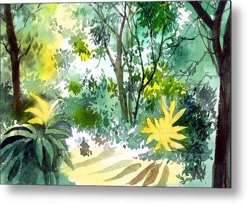 Landscape Metal Print featuring the painting Morning glory by Anil Nene