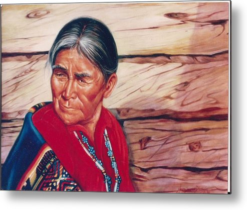 Native American Metal Print featuring the painting Navajo Woman by Naomi Dixon