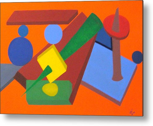Abstract Metal Print featuring the painting No.337 by Vijayan Kannampilly