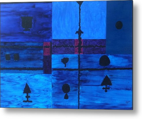 The Colour Blue Metal Print featuring the painting No.428 by Vijayan Kannampilly