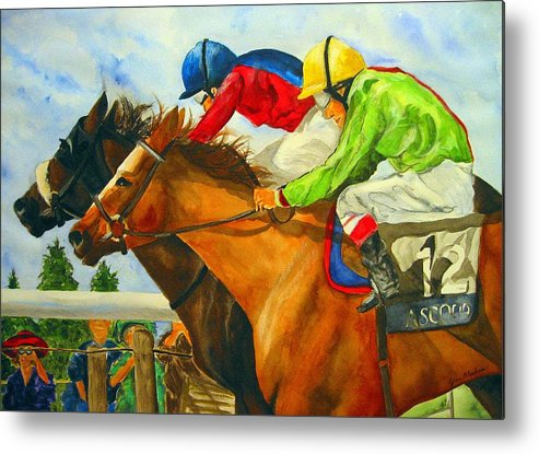Horse Metal Print featuring the painting Nose to Nose by Jean Blackmer