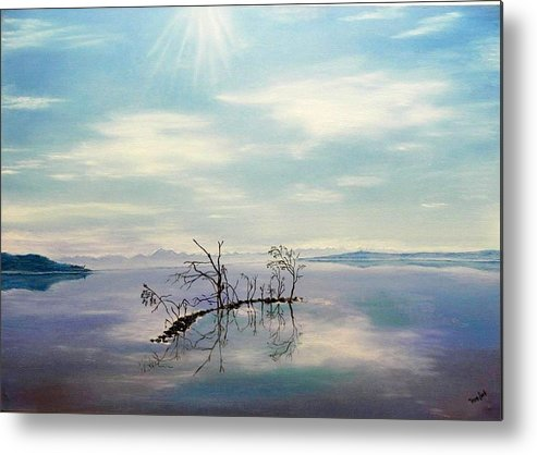 Late Novemeber In Bavaria Metal Print featuring the painting November on a bavarian lake by Helmut Rottler