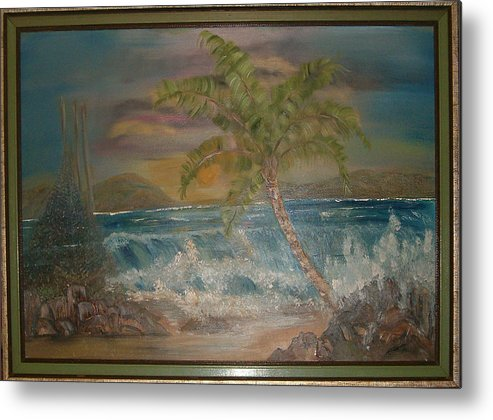 Seascape Metal Print featuring the painting Ocean Storm by Mikki Alhart