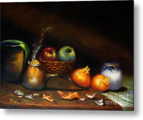 Still Life With Old Pot And Onion Metal Print featuring the painting Old Smoking Pot by MM Zurahov