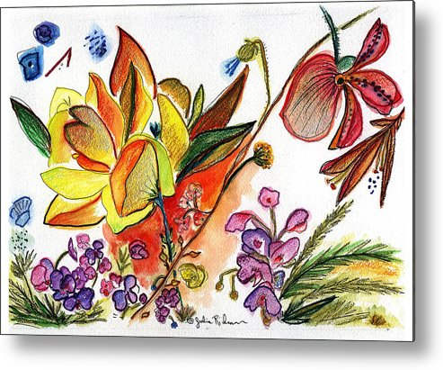 Flowers Metal Print featuring the painting Orchid No. 30 by Julie Richman