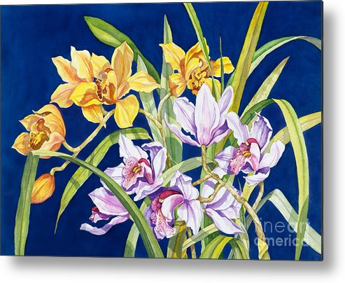 Orchids Metal Print featuring the painting Orchids In Blue by Lucy Arnold