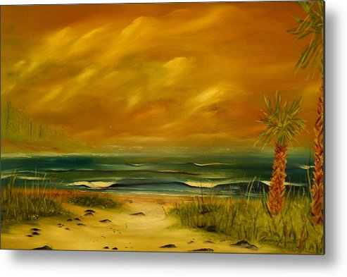 Sea Shore/palms/beach/skys Metal Print featuring the painting Palm Island by Lorenzo Roberts