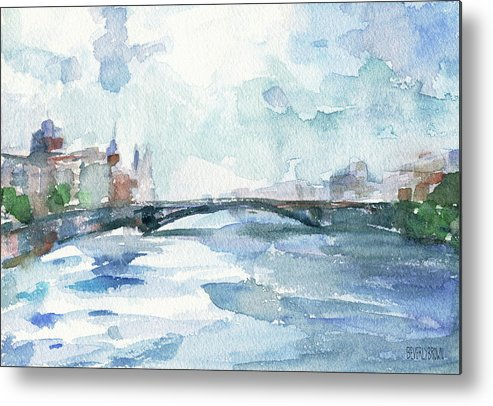 Paris Metal Print featuring the painting Paris Seine Shades of Blue by Beverly Brown Prints