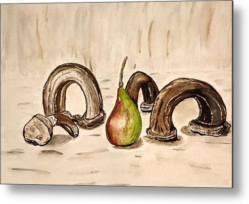 Pear Watercolor Painting Paint Artwork Jar Metal Print featuring the painting Pear Near Ancient Handle Jar. by Shlomo Zangilevitch