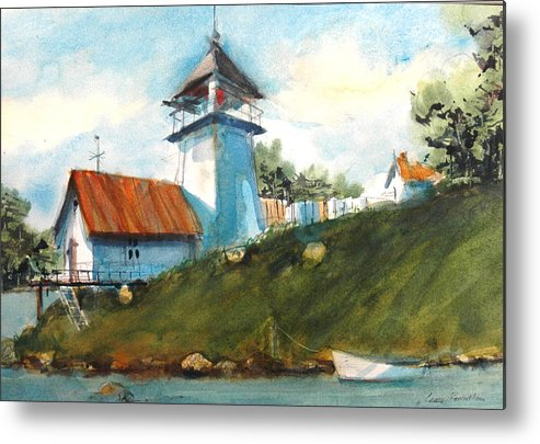 Pigeon Point. Lighthouse Metal Print featuring the painting Pigeon Point Lighthouse by Charles Rowland