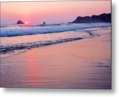 Mexico Metal Print featuring the photograph Pink Sky in Zipolite by Lyle Crump