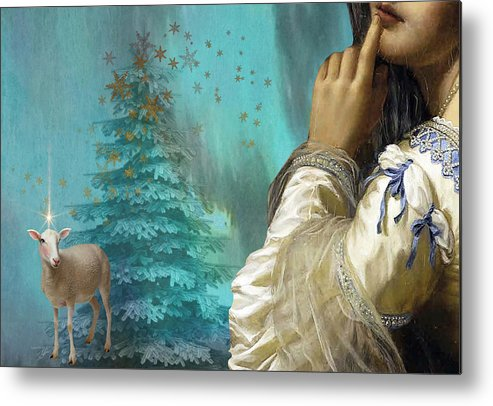 Portraiture Metal Print featuring the painting Pondering Peace by Laura Botsford