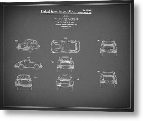 Porsche 911 Patent Metal Print featuring the photograph Porsche 911 Patent 1964 by Mark Rogan