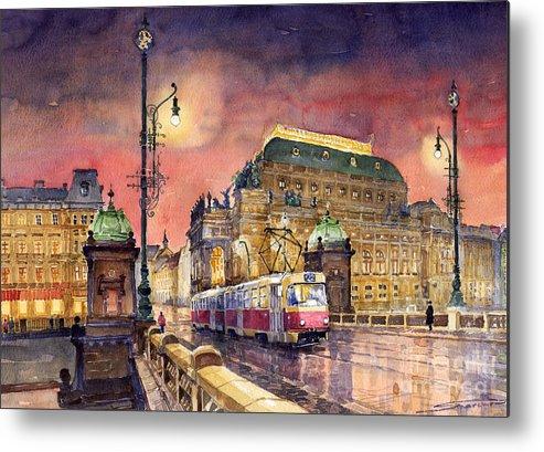 Bridge Metal Print featuring the painting Prague Night Tram National Theatre by Yuriy Shevchuk