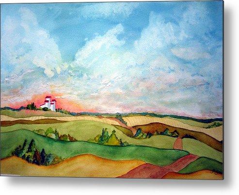 Prairie Grain Elevators Metal Print featuring the painting Prairie Grain Elevators by Joanne Smoley
