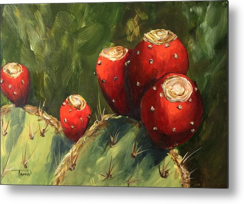 Prickly Pear Metal Print featuring the painting Prickly Pear III by Torrie Smiley