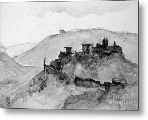 Landscape Metal Print featuring the painting Proceno Italy by Sarah Goodbread