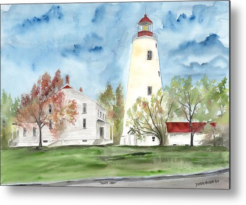 Watercolor Metal Print featuring the painting Sandy Hook Lighthouse by Derek Mccrea